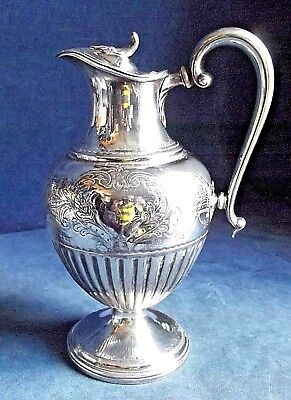 SUPERB Ornate ~ SILVER Plated ~ BULBOUS Water / WINE JUG ~ c1890