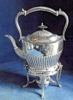 """SUPERB 12"""" ~ SILVER Plated ~ FLUTED Spirit KETTLE on Stand ~ c1890"""