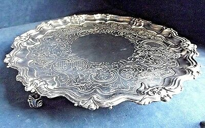 """SUPERB Very Large 15"""" ~ Sheffield SILVER Plate ~ Engraved SALVER Tray ~ c1830"""