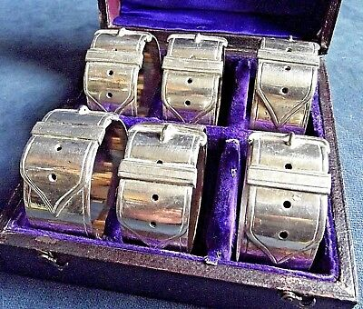 Superb CASED Set of 6 NUMBERED ~ SILVER Plate ~ BELT Buckle Napkin RINGS ~ c1900
