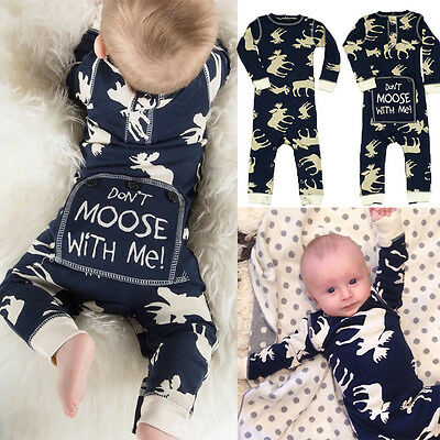 USA Christmas Newborn Baby Boy Moose Romper Bodysuit One-pieces Outfits Clothes