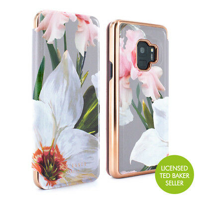 OFFICIAL Ted Baker Luxury Mirror Folio Case for Galaxy S9 Chatsworth - Mid Grey