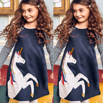 USA Princess Kids Baby Girls Dress Unicorn Striped Dress Party Casual Dresses
