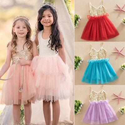 Christmas Kids Baby Girl Dress Sequins Tulle Tutu Dress Party Gown Dresses USA