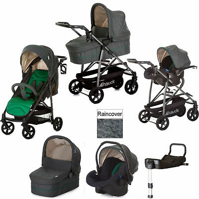 New Hauck Emerald Rapid 4S Plus Trio Set Travel System Pushchair With Base