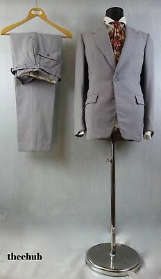 Beautiful Vtg 50s S/Button S/B Grey Wedding Suit Bespoke Alexandre London Check