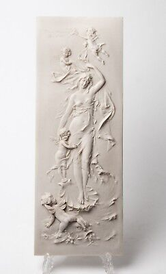 Antique French Marble Plaque The Birth of Venus and Cherubs - Francois Duquesnoy