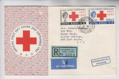 Hong Kong Red Cross Registered Airmail Cover