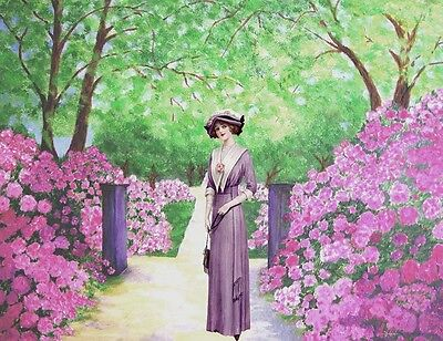 "perfect 36x24 oil painting handpainted on canvas ""a lady and flowers""@NO3891"