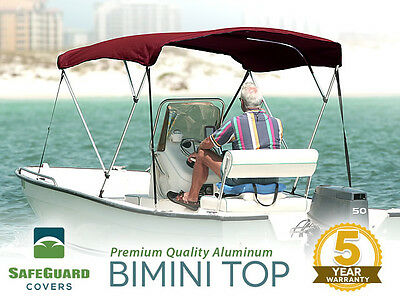 "NEW 3 BOW BURGUNDY BIMINI BOAT COVER TOP WITH BOOT 6'L X 46""H x 91""-96""W"