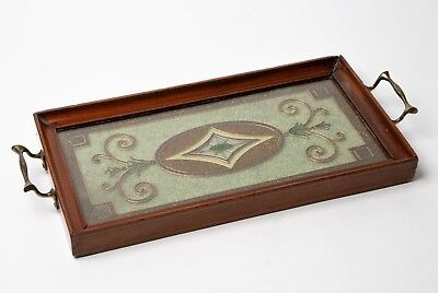 Antique Edwardian Mahogany Drinks Tray - Art Nouveau Glass Bead Coralene Design