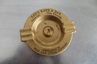 Vintage 1940's Ken's kafe & bar Plain WI  Metal Ashtary Tavern Wisconsin