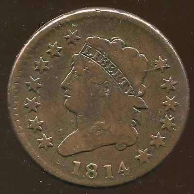 1814 Crosslet 4 Large Cent Very Fine 1C, light powdery surface corrosion