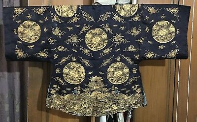 Antique Chinese Qing Dynasty Textile Summer Robe Blue Silk With Fine Couching