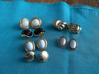 6 Pairs Vintage Clip On Earrings Some Monet