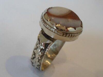 Genuine,detector Find.post Medieval Silver? Ring With Glass/stone.polished..