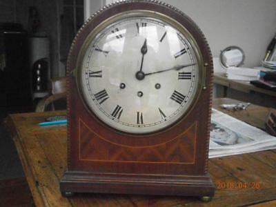 Antique Inliad Mahogany 3 Train Bracket Clock Gustav Becker