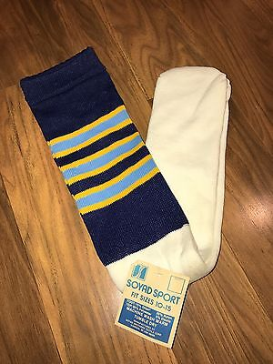 NWT Vtg 70s 80s Knee high TUBE SOCKS Navy STRIPED Athletic UCLA Chargers Mod NEW