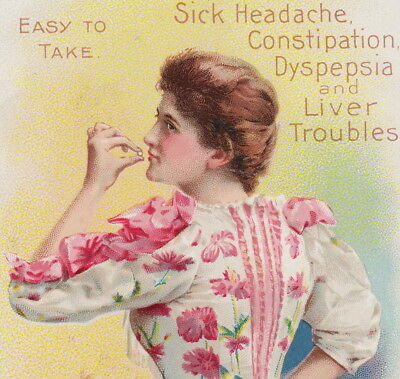 Ayers Pink Pill Popper 1800's Headache Cure old Victorian Advertising Trade Card