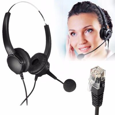 RJ11 Call Center Corded Operator Telephone Headset Monaural Headphone Office