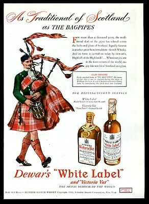 1947 Clan Manzies tartan bagpipes piper art Dewar's Scotch whisky print ad