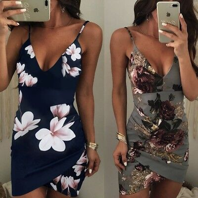 Women Dress Sexy Floral Print V Dress Backless Skirt Summer Party Club Cocktail