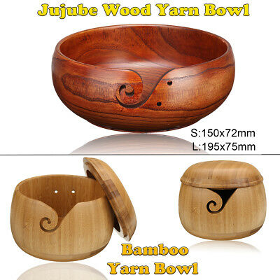 Wooden Yarn Bowl Holder Handcrafted Gift For Yarn Skeins Knitting Crochet Home