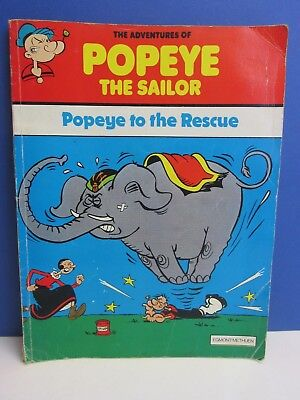 old vintage POPEYE THE SAILOR to the rescue STORY BOOK paperback 1977 52o