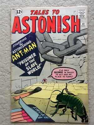 Tales To Astonish #41 Original Marvel Comic Book 1963 Fine- Ant Man