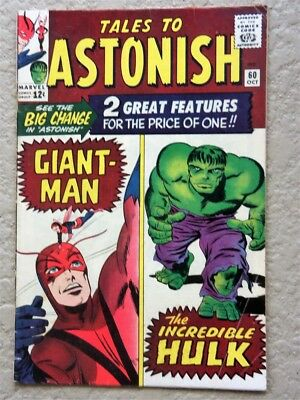 Tales To Astonish #60 Original Marvel Comic Book 1964 Fine+ Giant Man Hulk