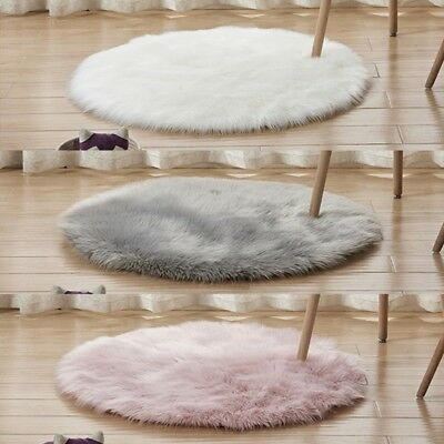 Fluffy Round Rug Artificial Wool Floor Carpet Home Decor For Kids Room Bedroom
