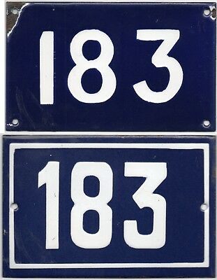 Old blue French house number 183 door gate wall fence street sign plate plaque