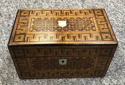 Antique Victorian Parquetry Tunbridge Ware Style inlayed Tea Caddy Box