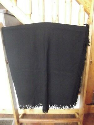 "Amish Hand Made Black Wool Buggy Blanket 641/2"" X 60"" Carriage Sleigh Lap Plain"