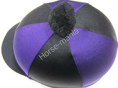 Hy Purple/black Pom Pom Riding Hat Silk Cover For Jockey Skull Caps One Size