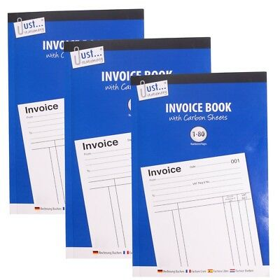 3x INVOICE RECEIPT PADS Full Size A5 Numbered Pages 1-80 Office VAT Cash Record
