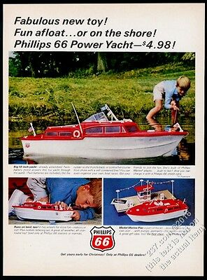 1965 Phillips 66 oil gas motorized power yacht boat toy photo vintage print ad