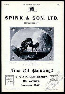 1928 George Stubbs The Combat horse painting Spink UK vintage print ad