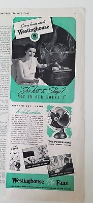 1939 Westinghouse Electric circulating fan too hot to sleep vintage ad