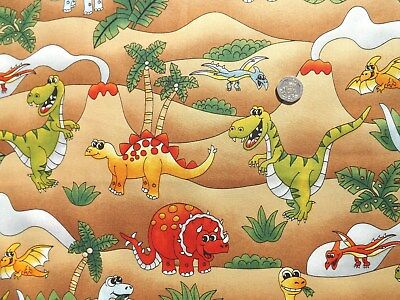 Jurassic Dinosaur All Over Fabric fq 50x56cm Nutex 89210-102 100% cotton