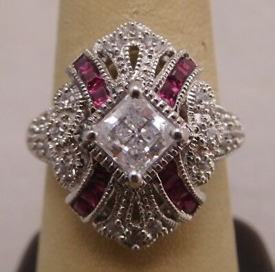 Fancy Vintage Art Deco Style Sterling Silver 925 Red Ruby Cz Stone Size 9 Ring