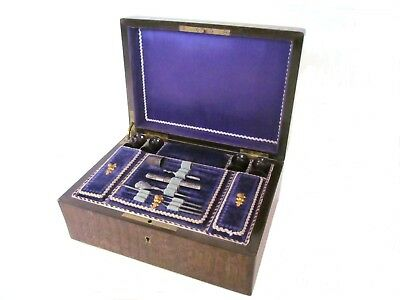 Early 19th Century French Olive & Rosewood Sewing Box with Boulle Inlay