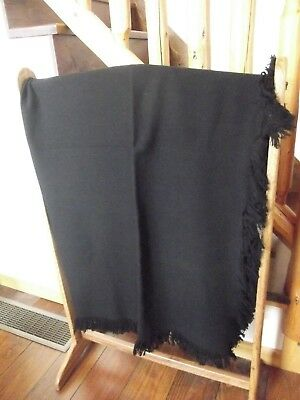 "Amish Hand Made Black Wool Buggy Blanket 62""X 59"" Carriage Sleigh Lap Plain NICE"