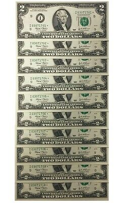 10 Consecutive Serial # Uncirculated $2 (2003) BILL STAR NOTES in 10-Page ALBUM