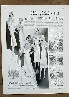 1937 women's Colony Club slips lingerie vintage fashion ad
