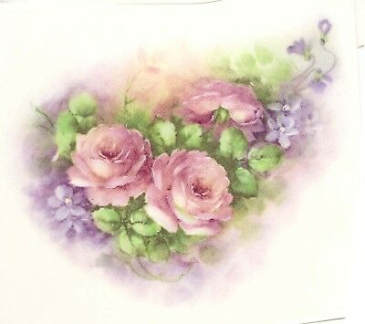 "4 Pink Rose Purple Lilac Flowers 3-3/4"" X 3"" Waterslide Ceramic Decals Xx"