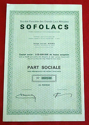 African Great Lakes SOFOLACS Stock Certificate Dem. Republic of Congo 1962 u