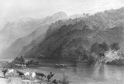 Syria, ORONTES RIVER ROPE FERRY HORSES COWS ~ 1837 LANDSCAPE Art Print Engraving