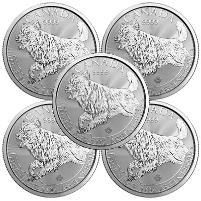 Lot of 5 - 2018 $5 Silver Canadian Wolf Predator Series 1 oz Brilliant Uncircula