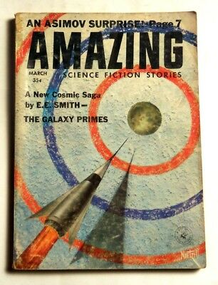 Amazing Stories Science Fiction Pulp Digest Size March 1959 Fine Isaac Asimov